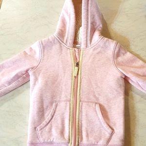 Size 5 pink jumper/sweatshirt with woolen lining